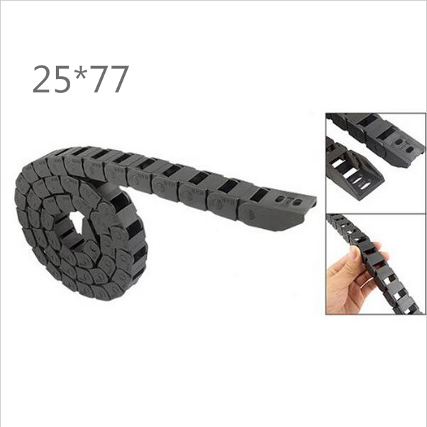 Free Shipping  1M 25*77 mm  Plastic Cable Drag Chain For CNC Machine,Inner diameter opening cover,PA66 best price 25 x 57 mm l1000mm cable drag chain wire carrier with end connectors for cnc router machine tools
