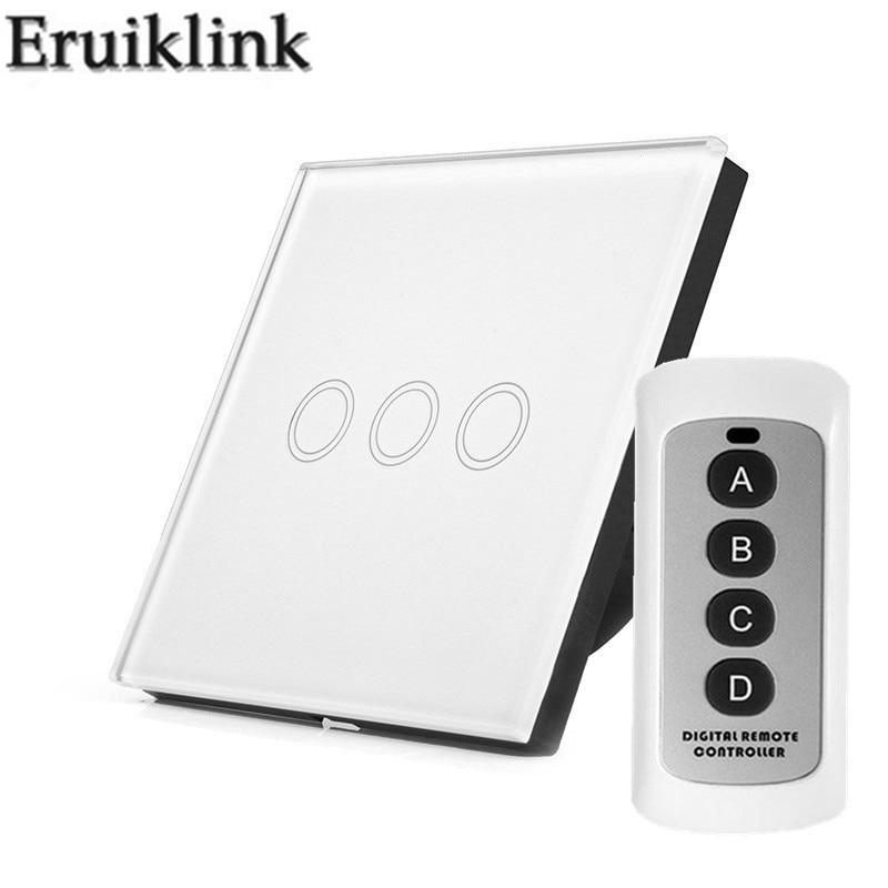 цена на EU/UK Standard Wireless Remote Control Light Switches,3 Gang 1 Way Glass Panel Sensor Wall Switch touch for RF433 Smart Home