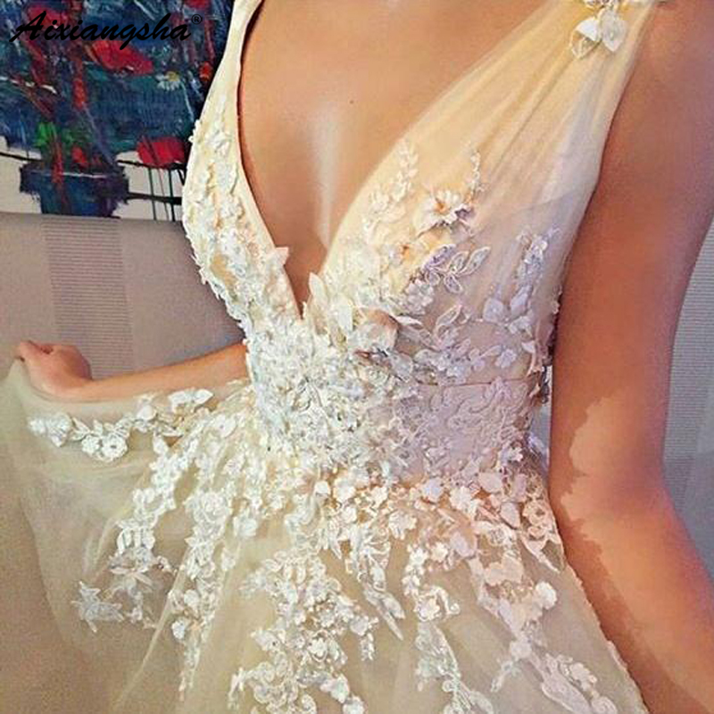 Mousseline de soie 2019 robes de bal longues col en v sans manches longueur de plancher Train Tulle ivoire Sexy robe de soirée gala jurken - 6