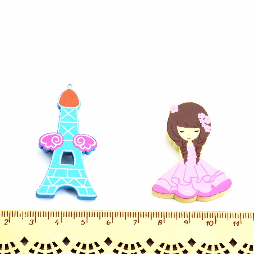 Timlee Cartoon Cute Eiffel Tower Flower Girl Woodiness Brooches Gift Wholesale