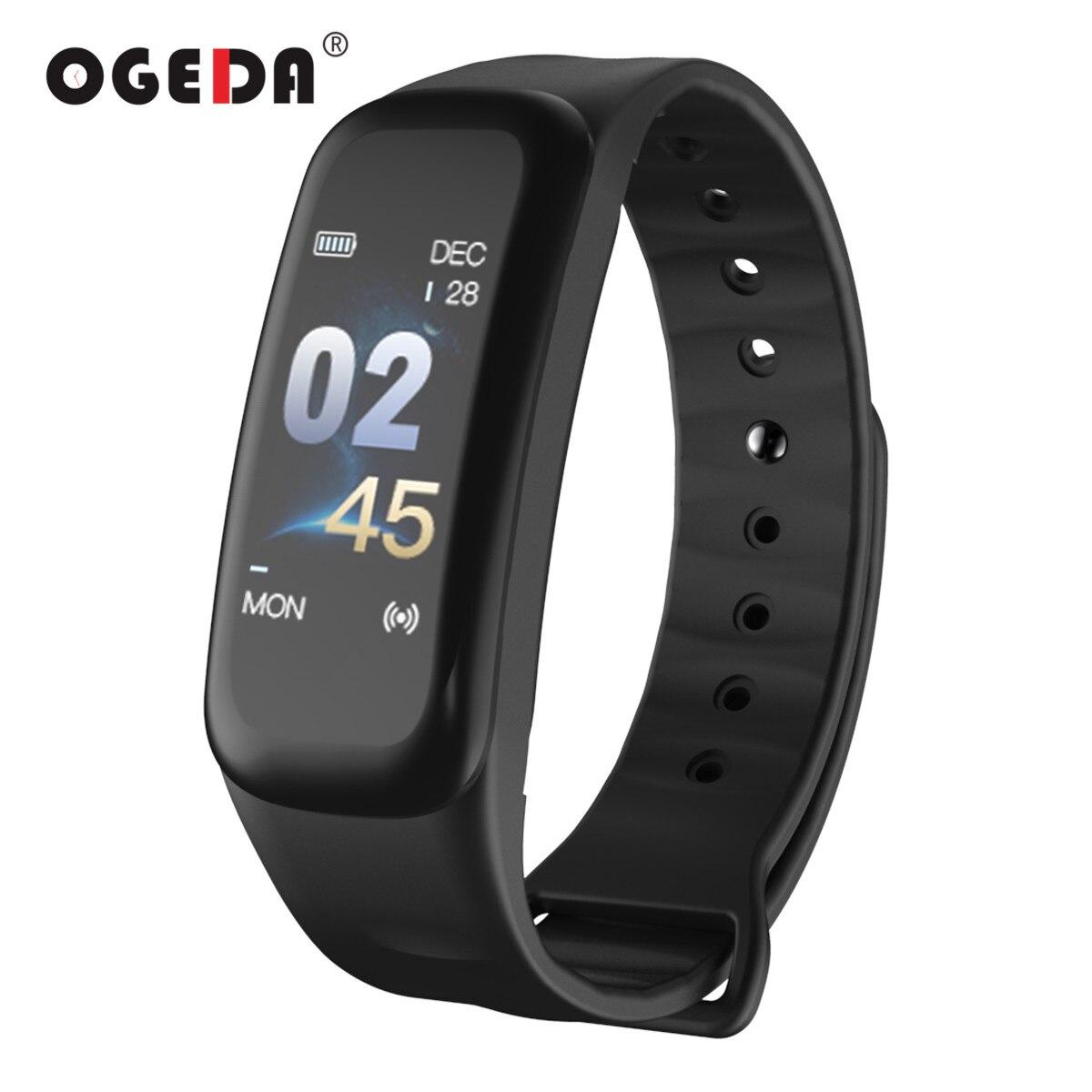 OGEDA Hommes Smart Sport Montre Bracelet Bluetooth Fréquence Cardiaque Sang Pression Calories Podomètre LED Smartwatch pour Android IOS