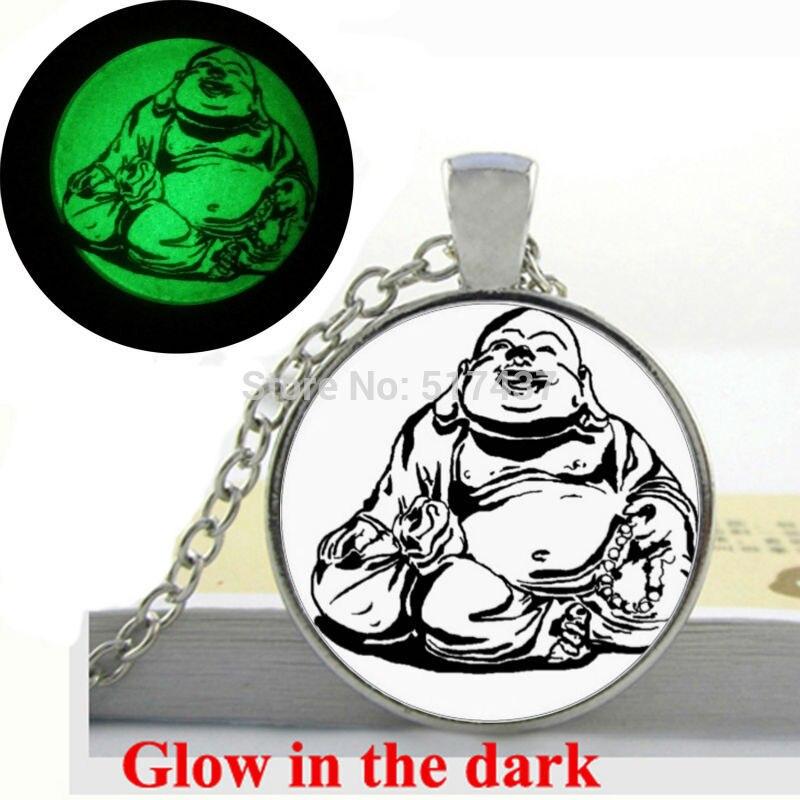 6ed81661fa85 Brillan en la Oscuridad de Joyería Colgante Collar de Buda Mandala arte  photo vidrio cabochon collar colgante joyas Brillantes