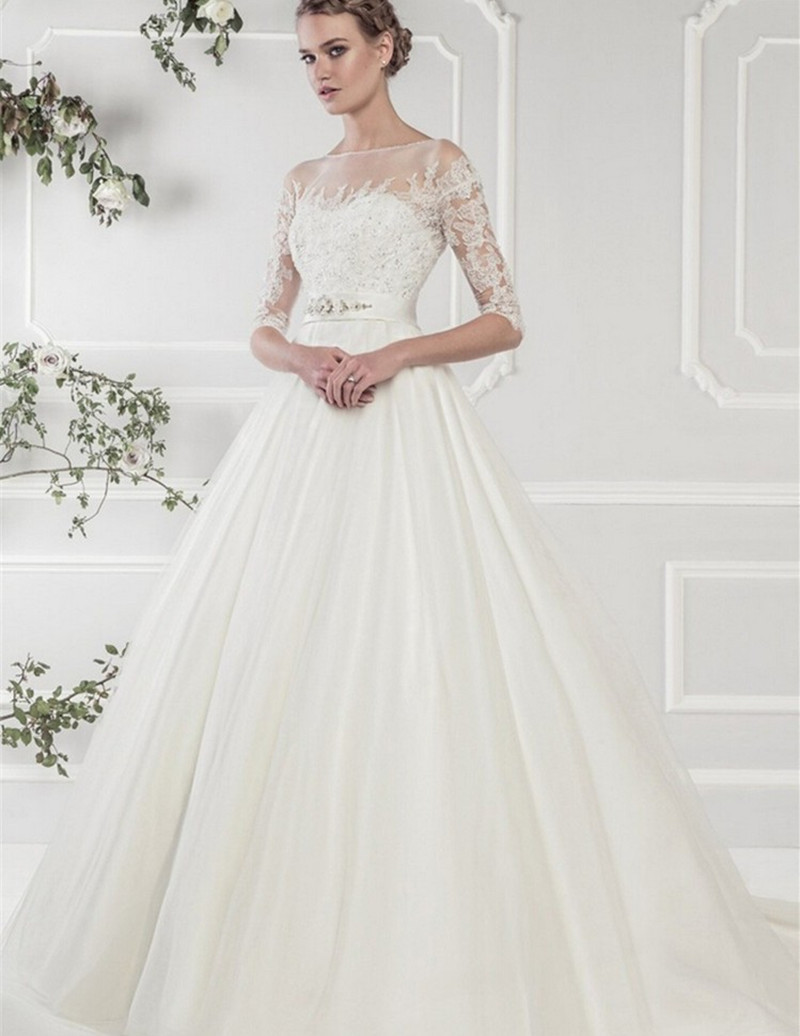 Buy romatice white satin wedding dresses for Silk wedding dresses with sleeves