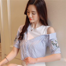 Hollow out open shoulder Cropped Women Short Sleeve Flower embroidery Blouse Casual ruffle blouses Tops 2019 Fashion White 922C3 new hollow out off shoulder cropped women short sleeve flower embroidery women blouse bow tie casual ruffle blouses tops 923g