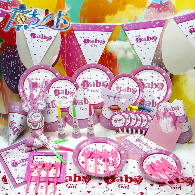 Party supplier wholesale 84pcs set new best gift to for Baby girl birthday decoration pictures