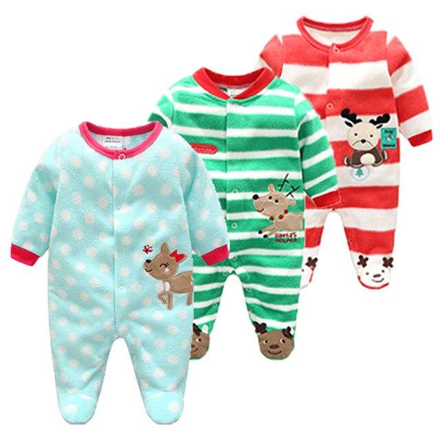 Spring Autumn Baby Rompers Polar Fleece Full Sleeve Boy Girl Clothes Cartoon Newborn Clothing Roupas Bebe Infant Baby Jumpsuits
