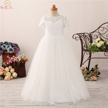 Lovely Lace Flower Girl Ball Gown Dresses For Weddings Short Sleeve Hollow Back Kids First Communion Pageant Fluffy Gowns 2019