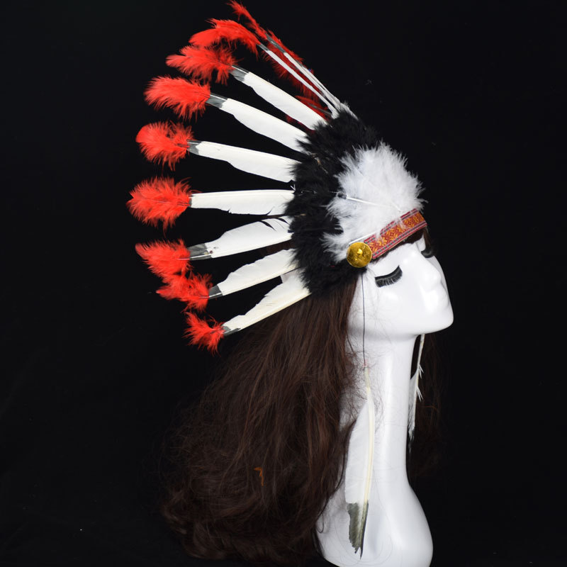 alloween Carnival Day Indian Villus Chief Headdress Colorful Feather Party Hats Headband Caps Supplies Costume Carnival Party (3)