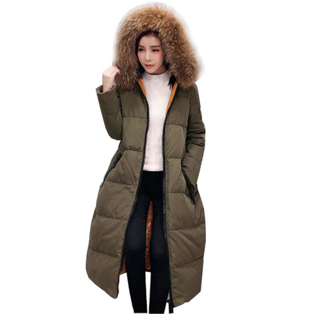 winter Korean 2016 down coat large fur collar knee length long ...