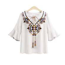 ZYFPGS 2019 Spring Summer Streetwear Woman Blouse Chiffon Geometric V-Neck Shirt Women Plus Size 5XL 6XL Embroidery #D0116