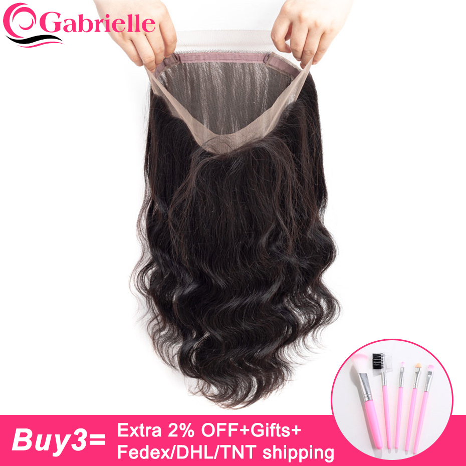 Gabrielle Lace-Frontal-Closure Human-Hair Body-Wave Pre-Plucked Brazilian 360 with Baby