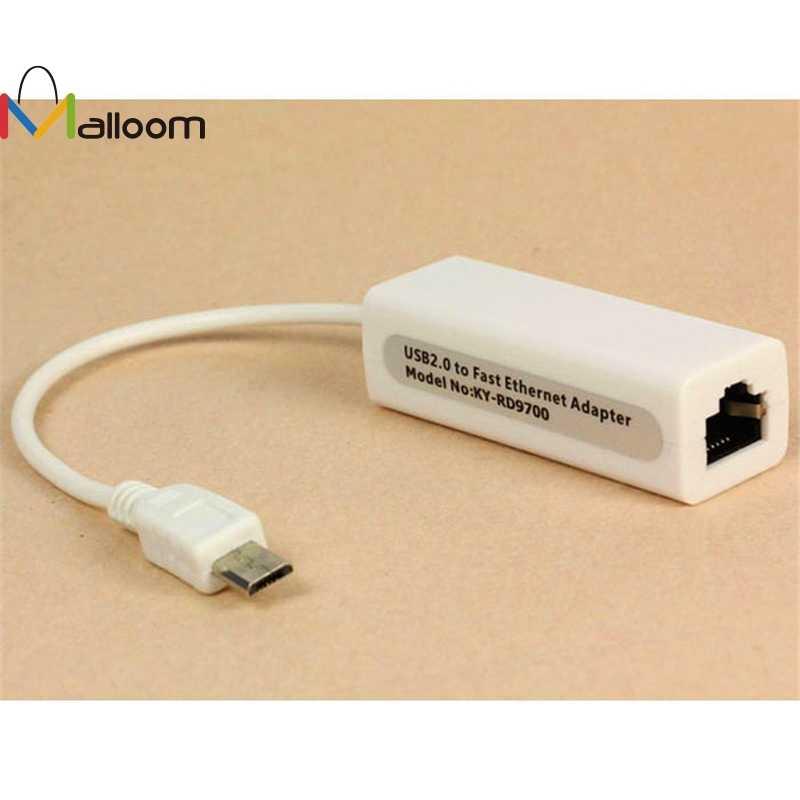 Malloom 2018 nueva llegada alta velocidad Micro 5pin USB a RJ45 10/100M Ethernet adaptador de red para SamsungTable PC