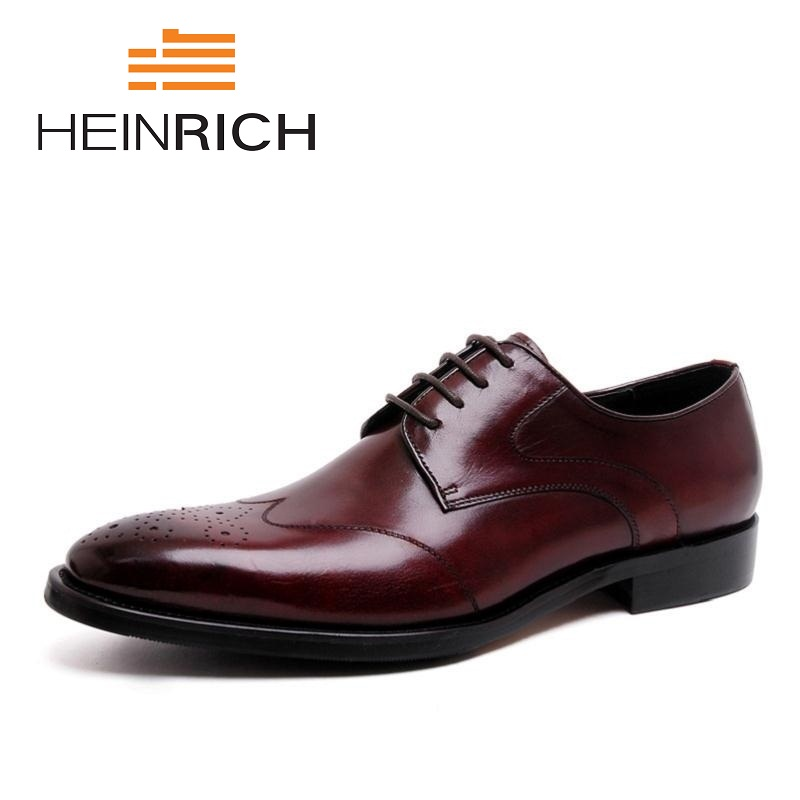HEINRICH 2018 New Luxury Genuine Leather Lace Up Men Dress Shoes Formal Party Office Brown Black Derby Man Shoes Herren SchuheHEINRICH 2018 New Luxury Genuine Leather Lace Up Men Dress Shoes Formal Party Office Brown Black Derby Man Shoes Herren Schuhe