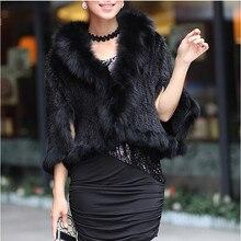 Осенне-зимние женские шали из натурального меха норки, воротник из лисьего меха, женские меховые шали из пашмины, свадебная накидка, пальто, куртка VK1457