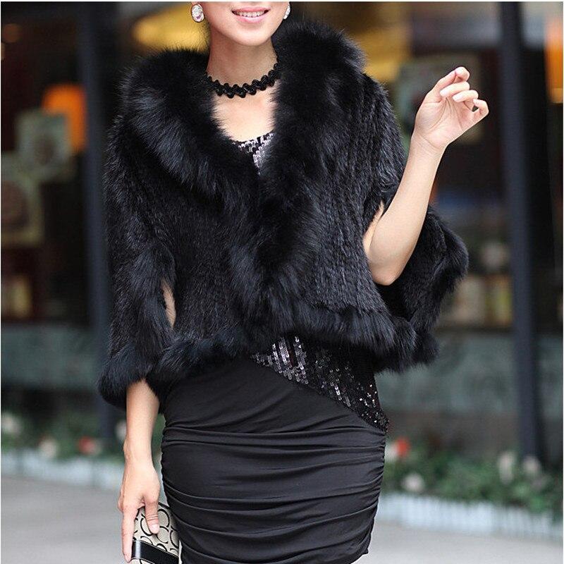 Automne hiver dames véritable tricoté vison fourrure châles renard fourrure col femmes fourrure Pashmina enveloppes mariée Cape manteau veste VK1457