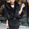 Autumn Winter Ladies' Genuine Knitted Mink Fur Shawls Fox Fur Collar Women Fur Pashmina Wraps Bridal Cape Coat Jacket VK1457