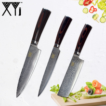 XYj Damascus Kitchen Knife Sets Paring Utility Santoku Chopping Chef Slicing VG10 Japanese Damascus Steel Knife Cooking Tools