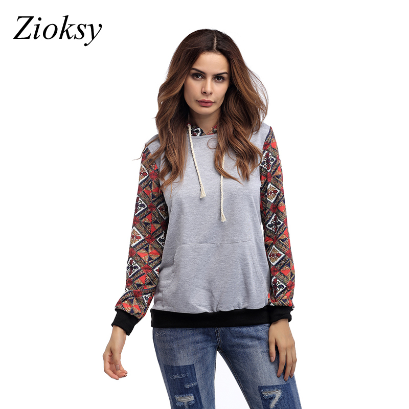 Zioksy 2017 Fashion Spring Autumn Vintage Women Hoodies Casual Pocket Hooded Printed Long Sleeve Pullover Sweatshirts