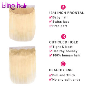 Image 3 - Bling cabelo 613 loira brasileira em linha reta rendas frontal encerramento 13*4 com o meio do cabelo do bebê/livre/três parte remy fechamento do cabelo humano