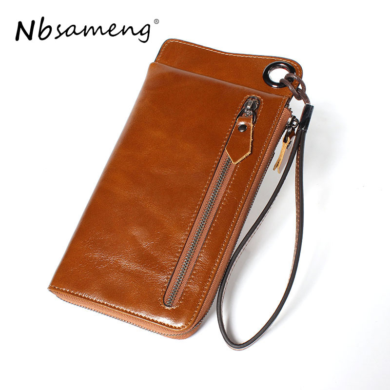 NBSAMENG Genuine Leather Vintage Wallets Men Clutch Wallet Zipper Card Holder Purse Long Coin Purse Money vintage genuine sheepskin leather male men s long wallet purse phone wallets card holder zipper pocket clutch bag bags for men