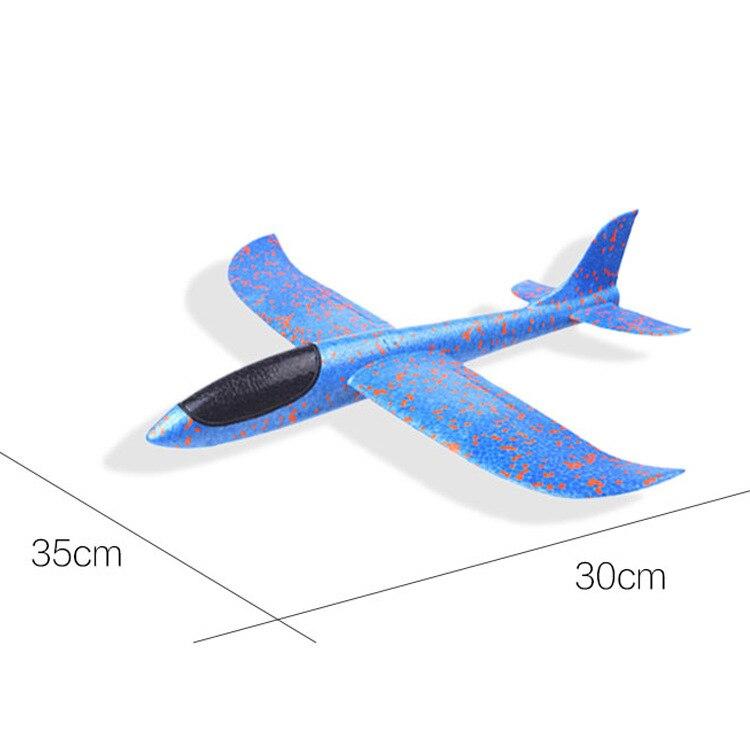 Сделай Сам ручной бросок Летающий планер Самолеты игрушки для детей пенопластовый самолет модель партии мешок наполнители Летающий планер самолет игрушки игры - Цвет: Blue 35CM