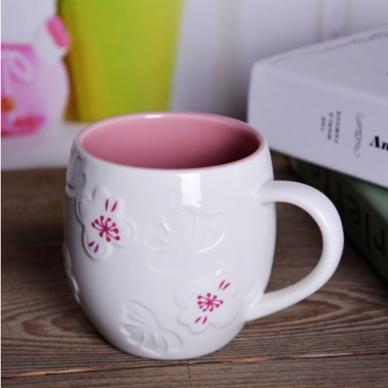 Beautiful Coffee Cup Design Mug Sets Font Cherry Blossom Ceramic