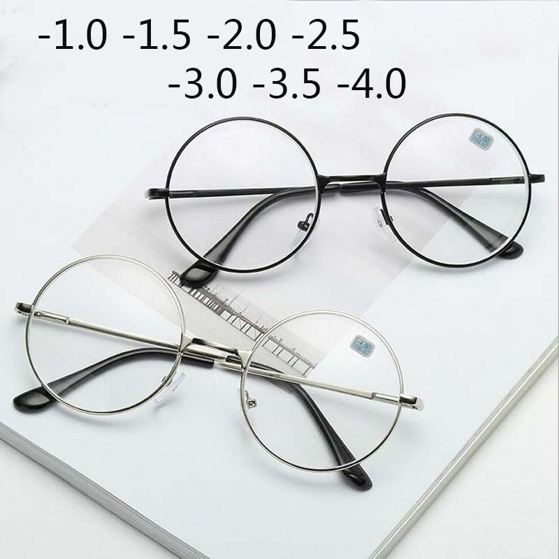 Round Glasses Woman Men Glasses Retro Myopia Optical Metal Frames Clear Lens Black Silver Gold Eyeglasses -1.0 -1.5 -2.0 To -4.0