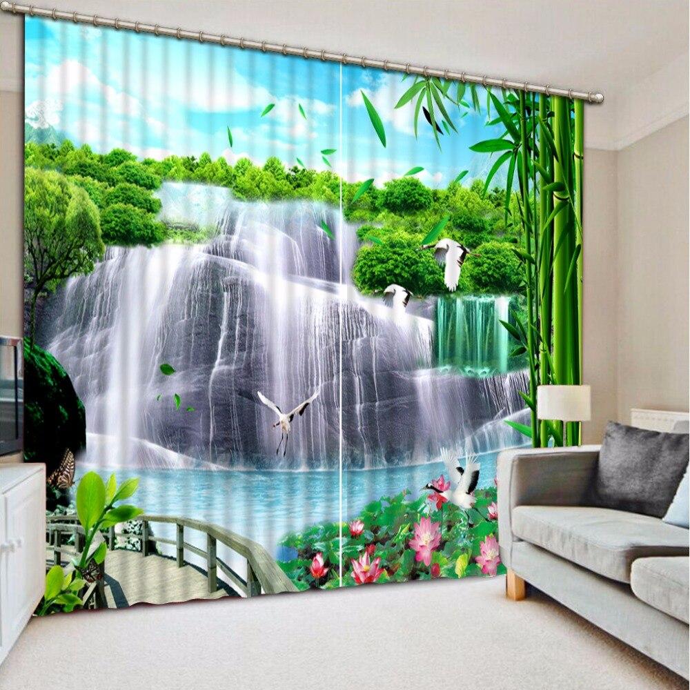 3D rideau Photo personnaliser taille occultant ombre fenêtre rideaux cascade pont bambou pour chambre rideaux salle de bain rideau