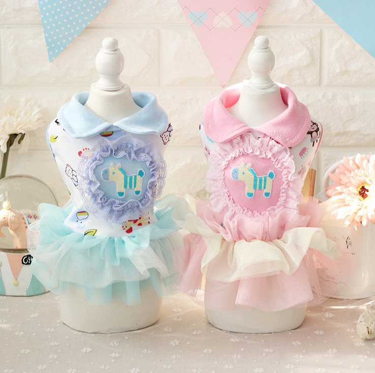 Princess Cotton Shirts Trojan Horse Dresses Girls Clothes for Dogs Cat Wear Products for Pets Yorkie Maltese Chiwawa 17ZF13