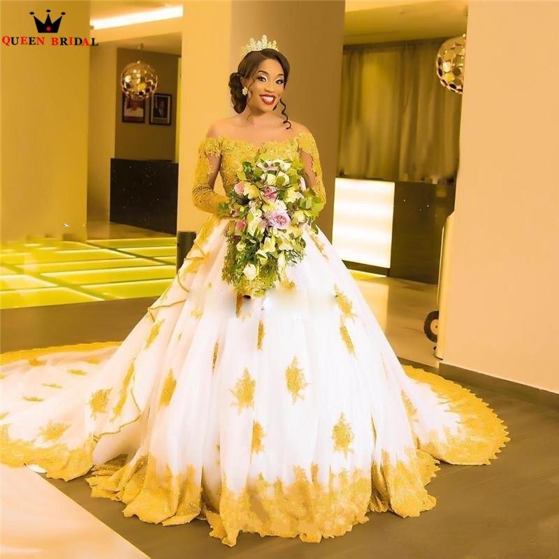 Robe de bal sur mesure à manches longues grand Train dentelle perlée cristal Golded robes de mariée formelles robes de mariée vraies Photos XJ04