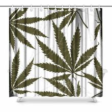 Aplysia Pattern with Leaves of Hemp Hashish Poppy Leaves Plant Bathroom Shower Curtain Accessories(China)