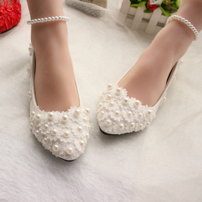White Lace Pearls Women Wedding Shoes Flat Heel Sexy Pearls Bandage Women  Bridal Shoes Big Size 34 44-in Women s Flats from Shoes on Aliexpress.com  ... acdd17781fa9