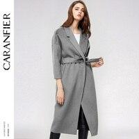CARANFIER осень зима Для женщин Шерстяное пальто High Street Стиль пояс с длинным рукавом Повседневное верхняя одежда пальто теплое пальто куртки Но