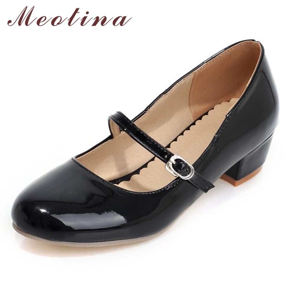 Meotina Women Shoes Low Heels Mary Jane Classics Ladies Shoes Pumps Autumn Round Toe Square Heels Female Solid Black Size 34-39 цены онлайн
