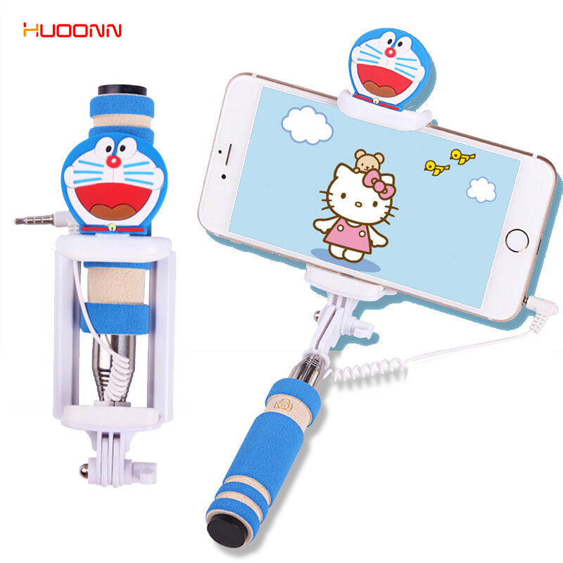 hudonn wired monopod cartoon selfie stick extendable selfy sticks for iphone 5 5s 6 plus samsung. Black Bedroom Furniture Sets. Home Design Ideas