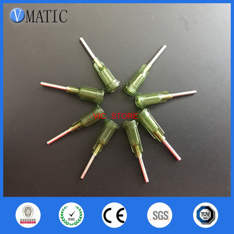 Free Shipping 100Pcs/Lot 14G 0.5'' Stainless Steel Tip Olive Color Screw Needle Glue Dispensing Needle Tips 1/2 Inch