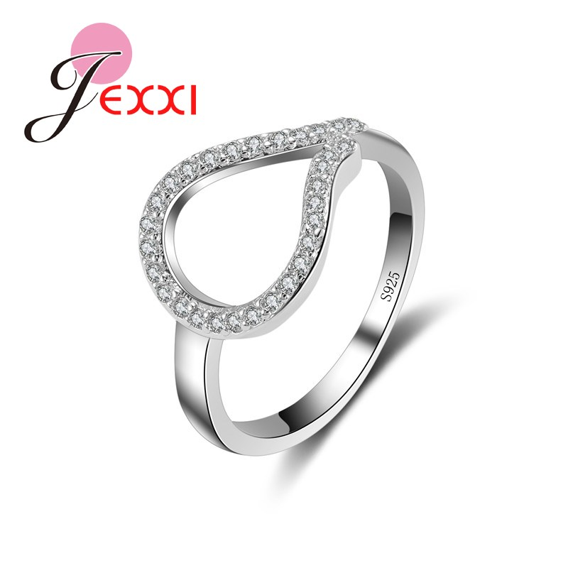 f521d335b9d8 Patico nueva moda regalos 925 plata esterlina joyas al por mayor anillo  mujeres accesorios elegantes gota de agua de cristal hueco
