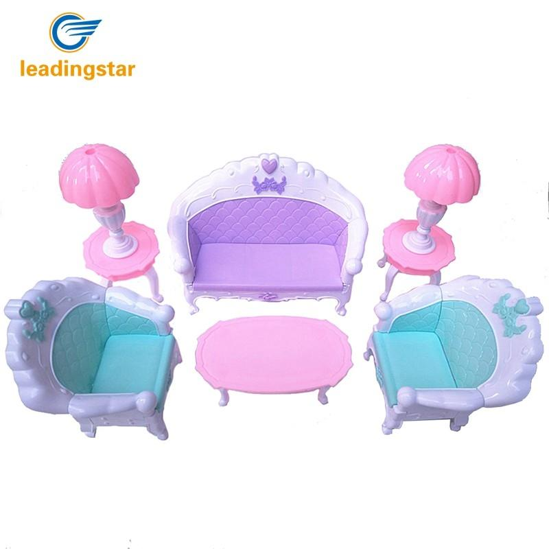 LeadingStar 6 Pcs/Set Doll House Set Kids Mini Furniture Toys Sofa Lamp Tea Table Decor accessories for dolls Kids Toy Gift pink sofa floor lamp clock set dollhouse living room furniture accessories tee table for barbie kurhn ken doll girls gift