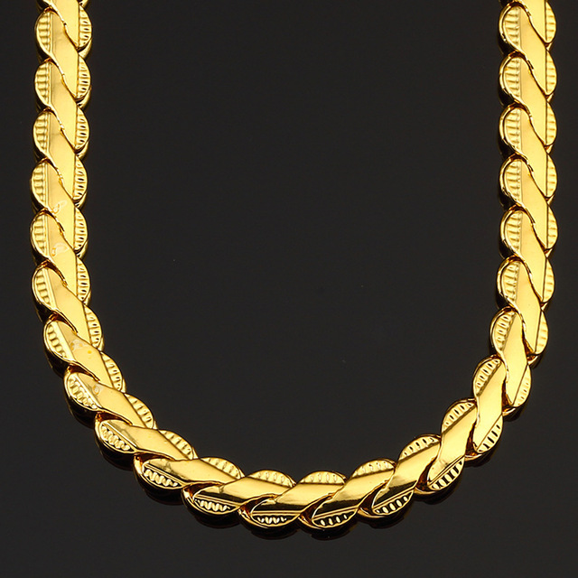 20 Mens Chain Boys Hammered Cut Miami Curb Cuban Link 24 Solid Gold