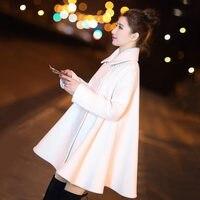 White Woolen Coat Women Autumn Winter Double Breasted Cloak Style Women Wool Coat Manteau Femme Hiver Long Parka Overcoat C4841