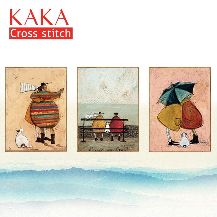 KAKA punto Croce kit Ricamo set cucito con il modello stampato, 11CT tela, Decorazioni Per La Casa per giardino di Casa, 5D Europa Del Fumetto
