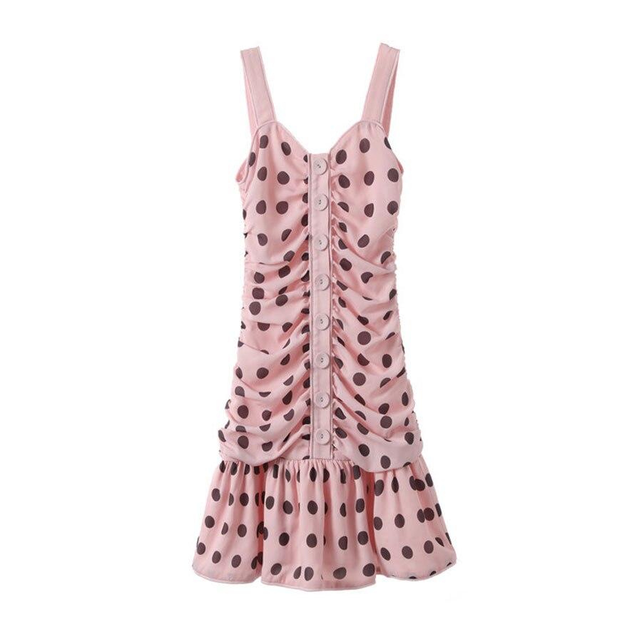 Quadrato 2019 Dots Molla Della Singolo Di Sexy Mini Nuove Abiti 1 Luce Modello Del Vestito Bottoni Collare dress Increspato Backless Donne Rosa PrPxOw
