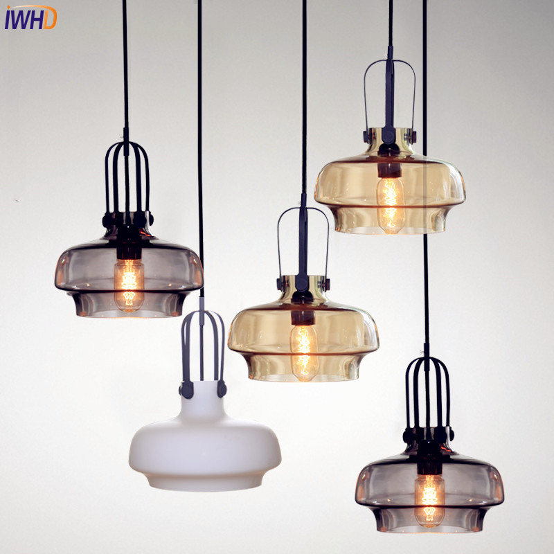 IWHD Nordic Modern LED Pendant lights Dinning Room Glass Lampshade Edison Vintage Lamp Hanging Light Lamparas Colgantes retro loft industrial vintage led pendant lights fxitures with glass lampshade dinning room lamp lamparas colgantes