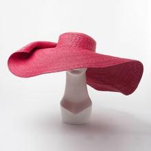 01809-hai-7124b summer photographed model 25cm wind brim show catwalk leisure beach lady cap women holiday sun hat