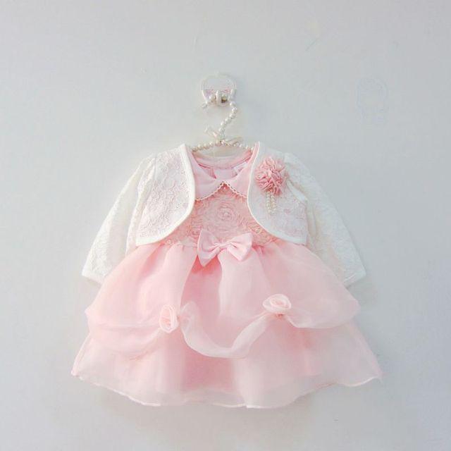 a6262b665 Toddler Pink Petal Baby Baptism Dress Bead Lace Princess Infant ...