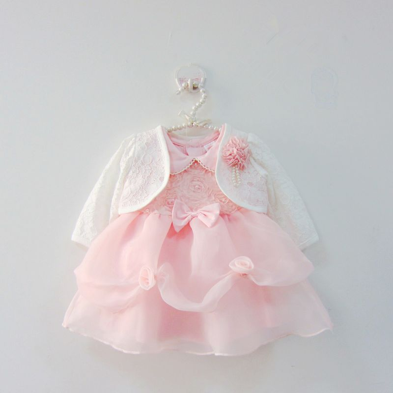 Toddler Pink Petal Baby Baptism Dress Bead Lace Princess Infant Wedding Gown with Jacket 1 Year Baby Girl Birthday Party Wear