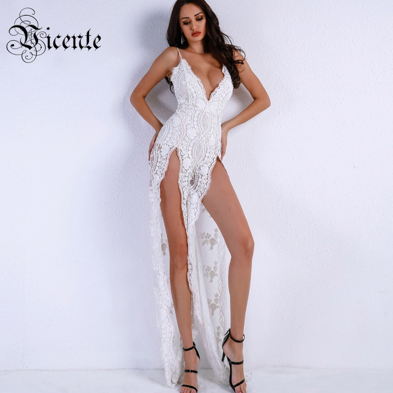 Vicente HOT Chic Sequins Maxi Long Dress 2019 New Sexy V neck Sleeveless High Split Wholesale