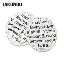Tibetan Silver Plated Shell in your Pocket Sand between Toes Charms Pendants Fit Bracelet Jewelry Making Handmade 29x26mm