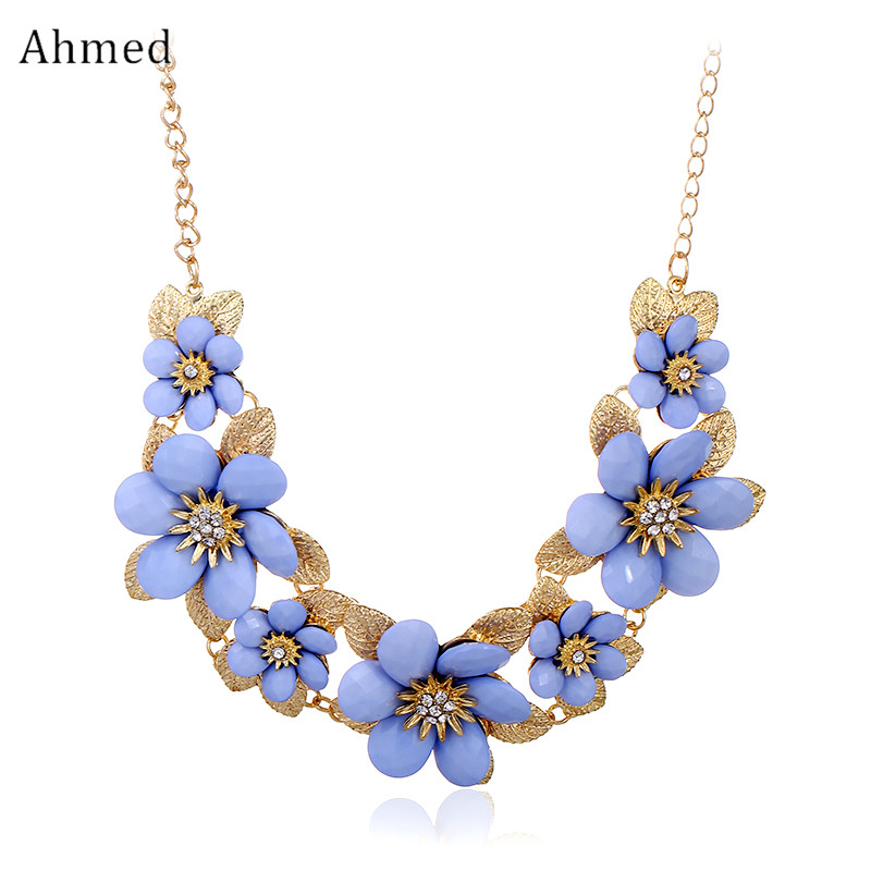 Ahmed Bohemian Resin Flowers Accessories Statement Pendant Necklaces for Women New Design Spring Gold Collar Jewelry