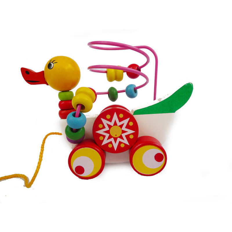 Educational duckling trailer toy mini around beads learning game multicolour children kids puzzle baby infant wooden Toys 6